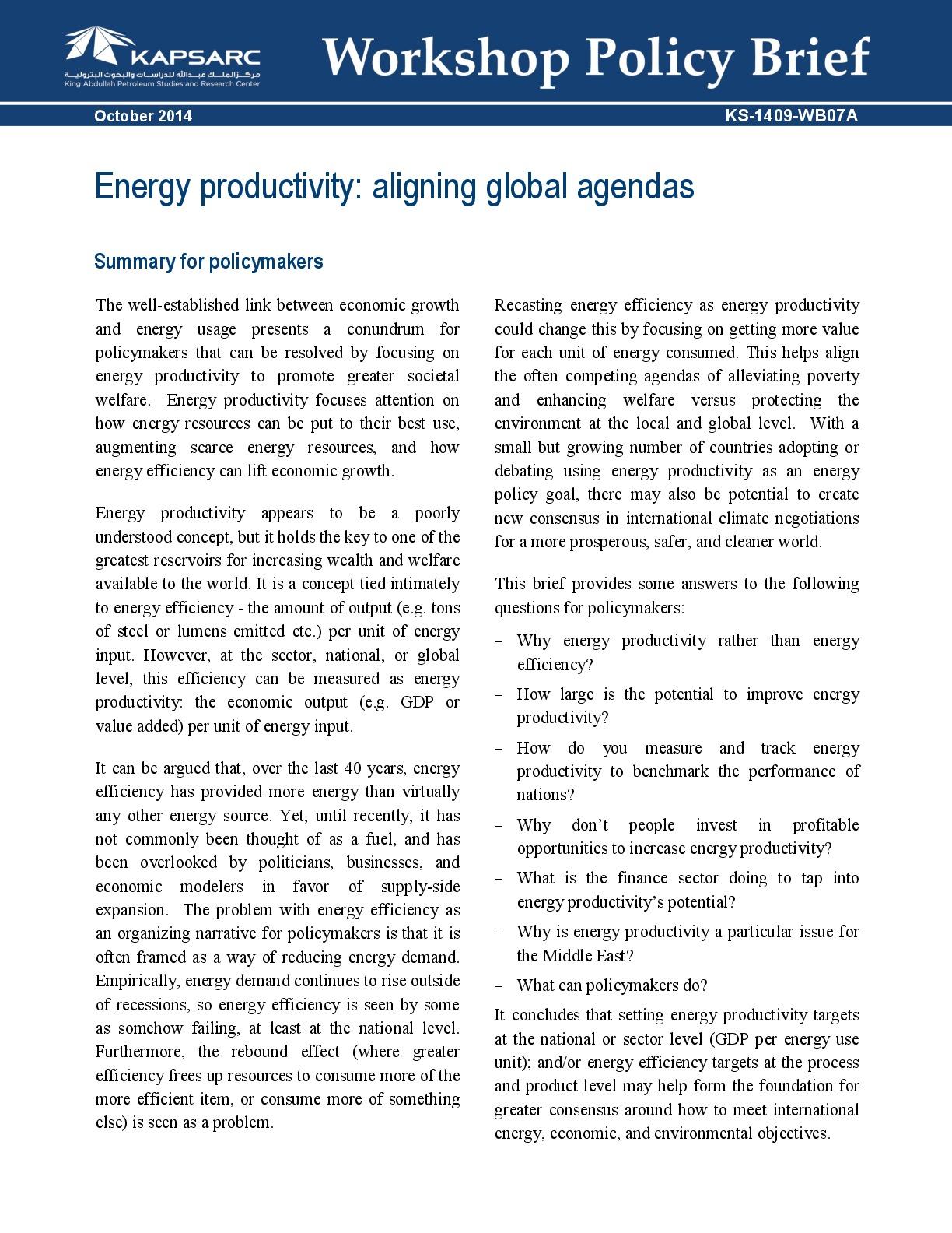 Energy productivity: aligning global agendas