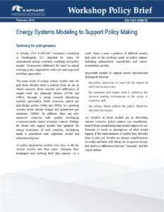 Energy systems modeling to support policy making