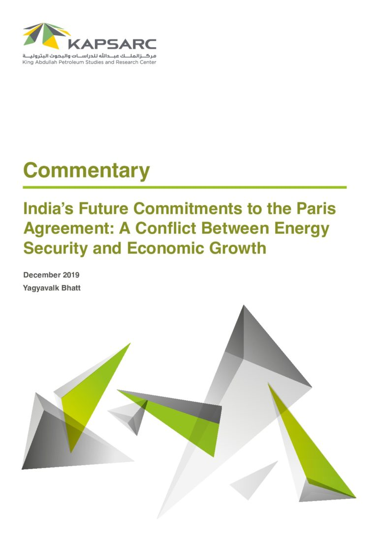 India's Future Commitments to the Paris Agreement: A Conflict Between Energy Security and Economic Growth