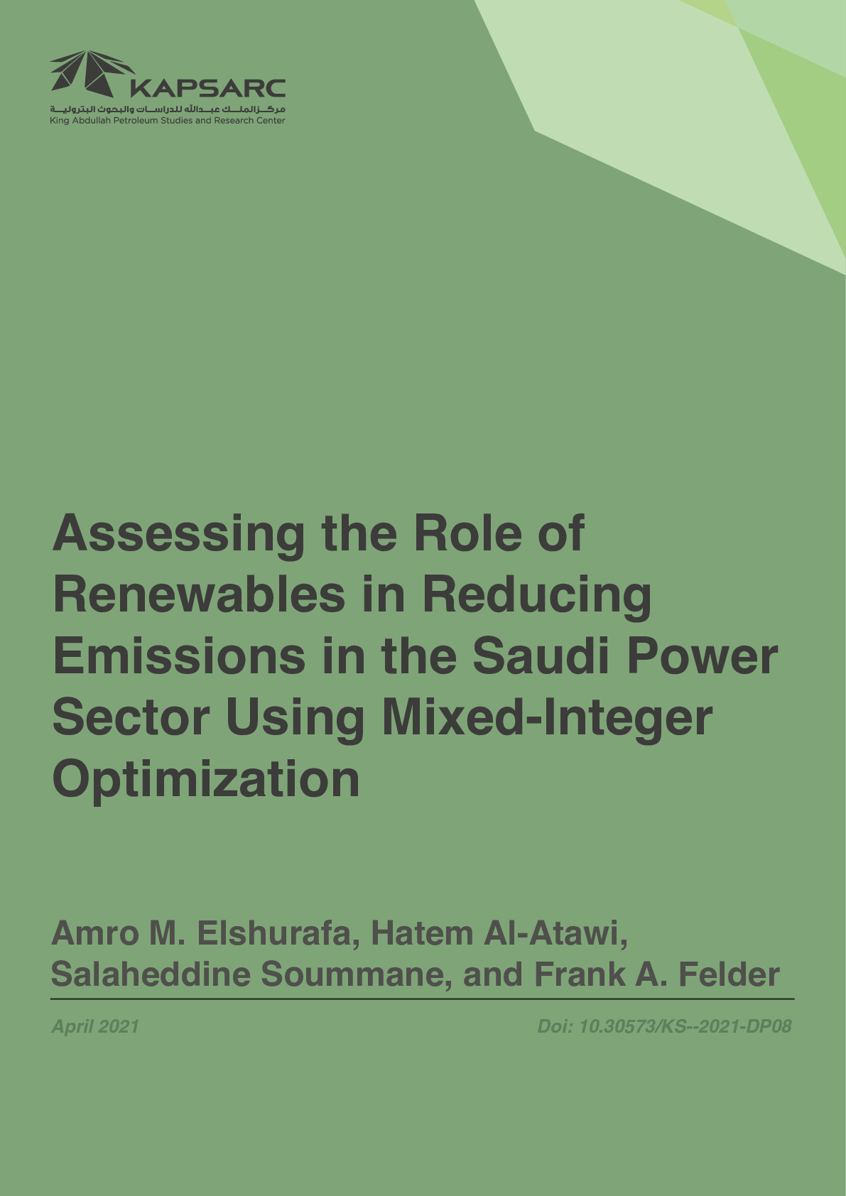 Assessing the Role of Renewables in Reducing Emissions in the Saudi Power Sector Using Mixed-Integer Optimization
